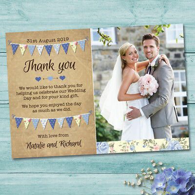 Personalised Wedding Thank you Cards & Envelopes - Vintage Blue Bunting