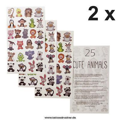 2 x Animals Card - 50 temporary Tiny Cute Animals Tattoo Sticker Tierkinder (2)