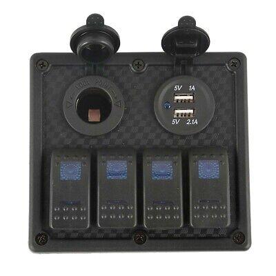 Gang Fuse Panel - 12V / 24V 4 Gang Blue LED Car Marine Boat Rocker Switch Panel Breaker with FUSE