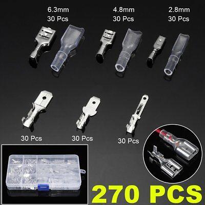 270pcs Female Male Cable Plugs Car Electrical Wire Terminals Crimp Connectors