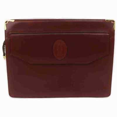 Authentic Cartier Clutch  Bordeaux Leather 1804591