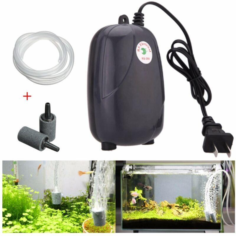 71GPH 2 Air Bubble Disk Outlet Aquarium Fish Tank Pond Pump Hydroponic Oxygen *