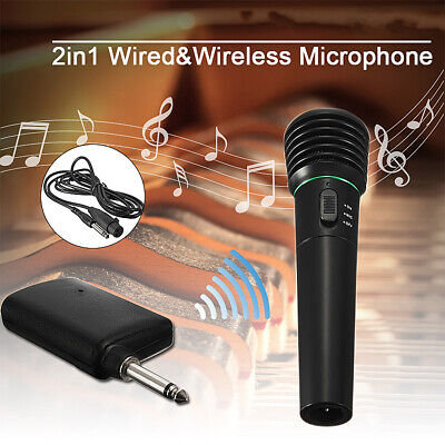 2 in 1 Wired & Wireless DJ Microphone Karaoke Singing Handheld Mic Receiver Cord