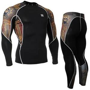 FIXGEAR-C2L-P2L-B27-SET-Compression-Shirt-amp-Pants-Skin-tight-MMA-Workout-GYM