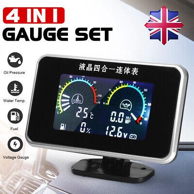 4 in 1 LCD Car Digital Gauge Oil Voltage Pressure Fuel Water Temp Meter M10 UK