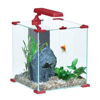 Acquario NanoLife Cube 30 Rosso con luce a Led e filtro accessoriato Nano Litri