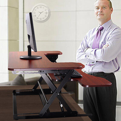 - Adjustable Height Stand Up Desk Computer Workstation Lift Rising Laptop Brown