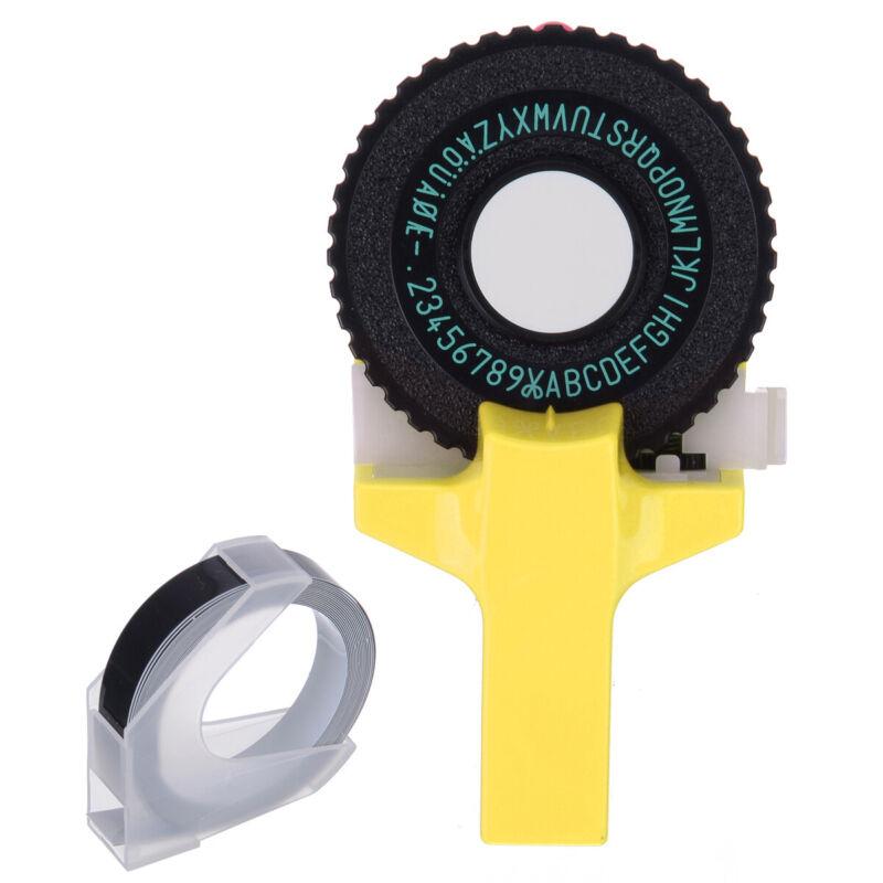 YELLOW Manual Embossing Label Maker Letters Numbers Printer