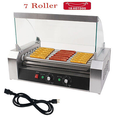 New Quality Commercial 18 Hot Dog 7 Roller Hotdog Grill Cooker Machine W Cover