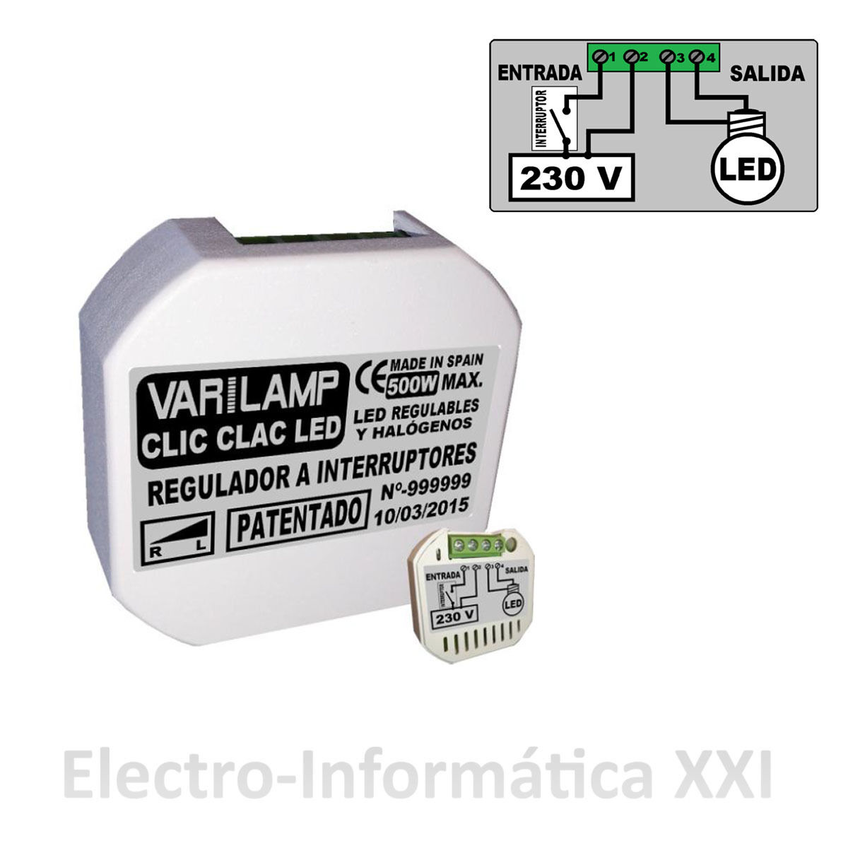 Regulador de intensidad clic clac led 100w varilamp - Regulador intensidad luz ...