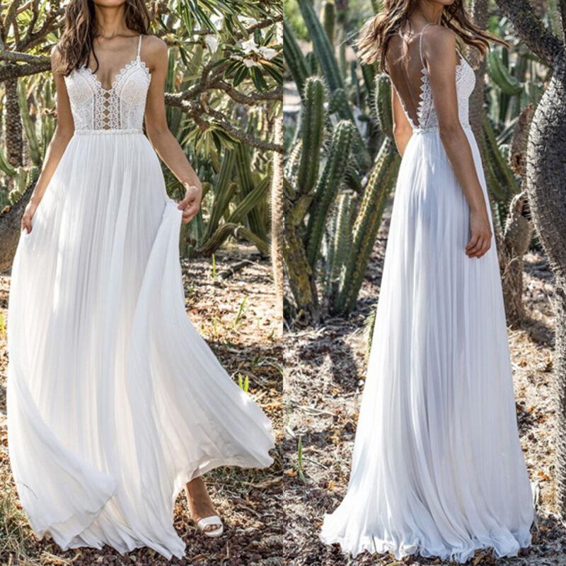 d608add3b1ce59 Damen Spitze Maxikleid Hochzeit Lang Weiß Kleider Cocktail Partykleid  Abendkleid*