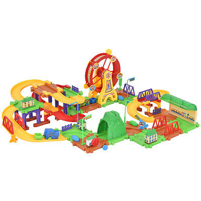 79PCS Plastic Brick Toys Electronic Building Blocks Railway Train W/ Light Music