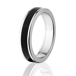 African Blackwood In Titanium Ring Exotic Hard Wood Wedding Band Wood Rings