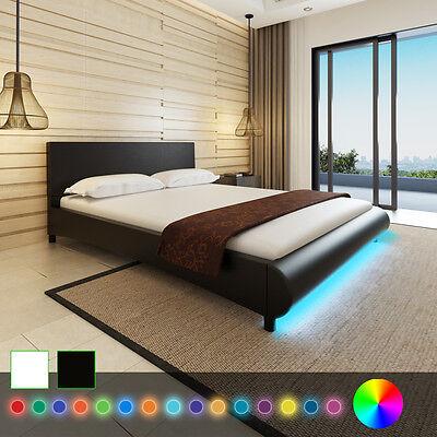 Kunstleder Bett Ehebett Doppelbett Polsterbett mit LED Bettgestell Lattenrost
