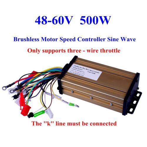 US 48V-60V 500W Brushless Motor Speed Controller Sine Wave Electric Bicycle