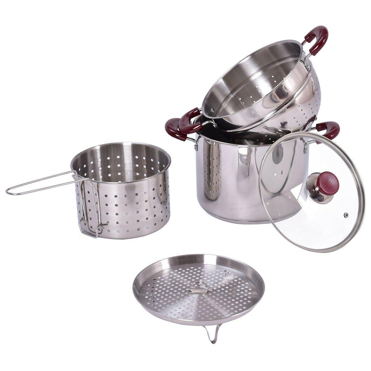 Stainless Steel Pasta Cooker Set Stock Strainer Pot 7 Quart