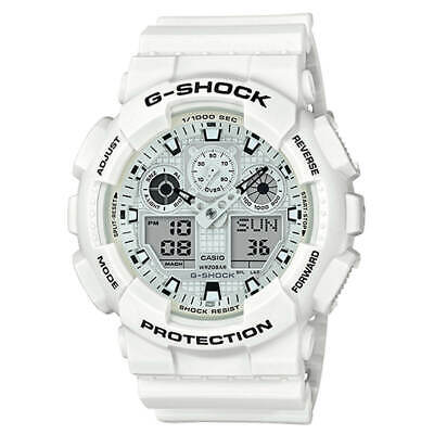 Mens Casio G-Shock Ana-Digi White Resin Strap Watch GA100MW-7A