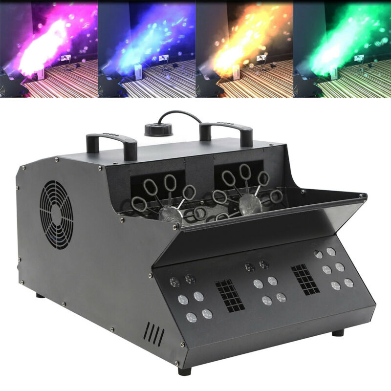 3in1 Function DMX512 3000W Stage Fog Machine Bubble Maker 18 RGB LEDs Lighting