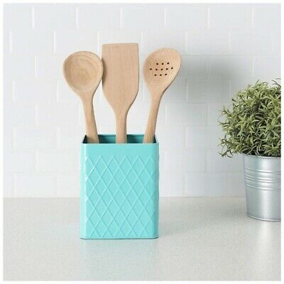 NEW Home Basics Kitchen Turquoise Utensil Holder Food Storage Organization