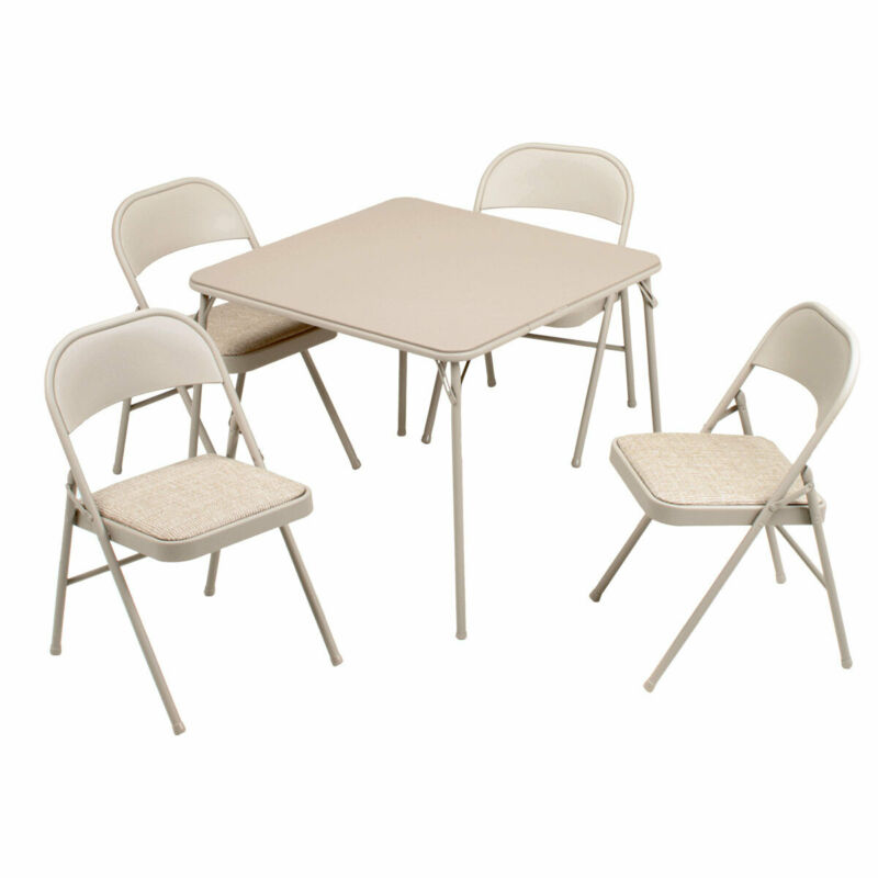 MECO Sudden Comfort 5 Piece 34x34 Card Table and 4 Chairs Folding Furniture Set