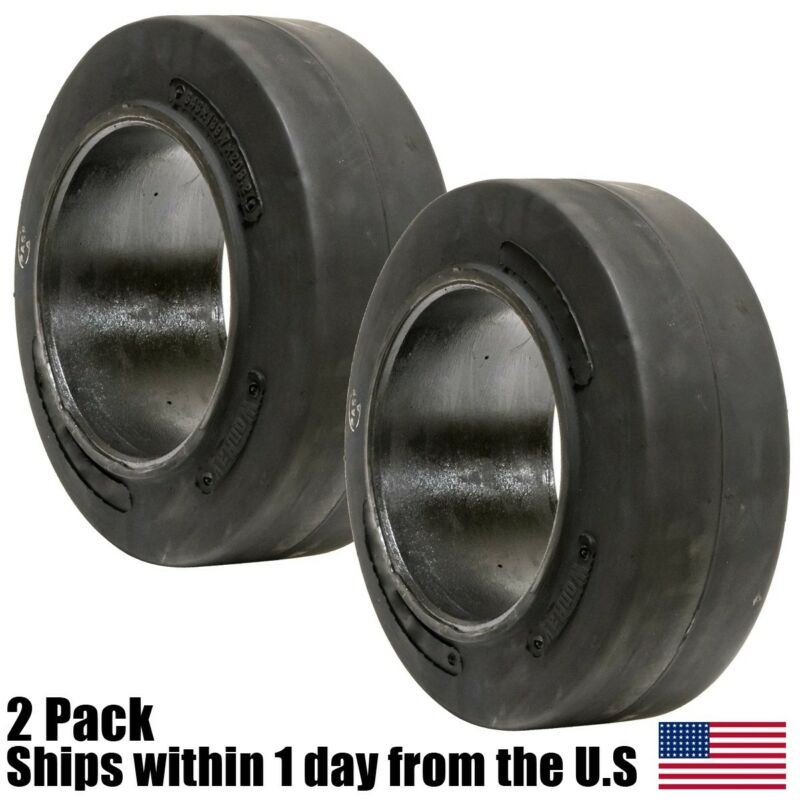 2PK 16X6X10-1/2 16x6x10.5 Solid Flat Proof Smooth Forklift Tire 16610