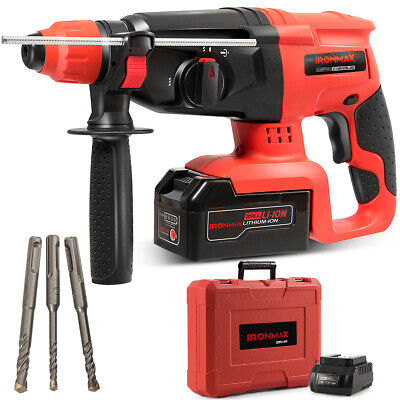 20v Cordless Lithium-ion Sds Plus Rotary Hammer Drill 3 Mode Wdrill Bits Case