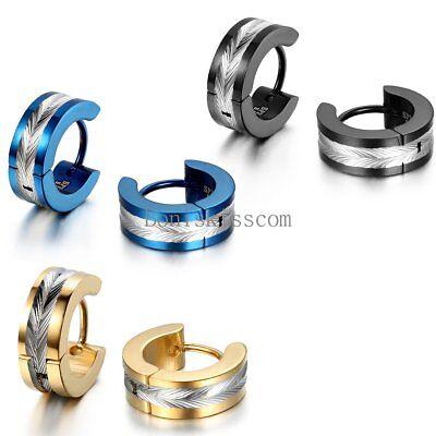 2Pcs Stainless Steel Hinged Hoop Huggie Snap on Earrings Men