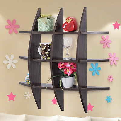 Wood Wall Shelves Cross Shelf Display Floating Storage Furniture Home Decor New