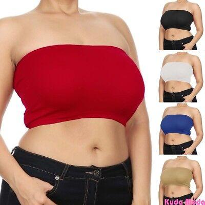 Women Seamless Bandeau Bra Tube Top Plus Size XL 1X 2X 3X 4X No Pad Wire - 4x Plus Size