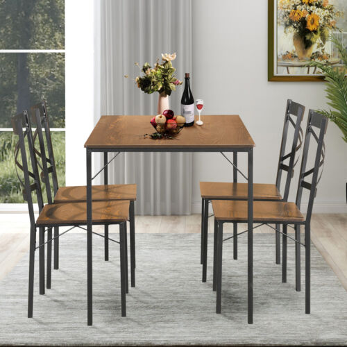 Details about 5-Piece Industrial Vintange Dining Set 4 Chairs Table Kitchen  Furniture Wooden