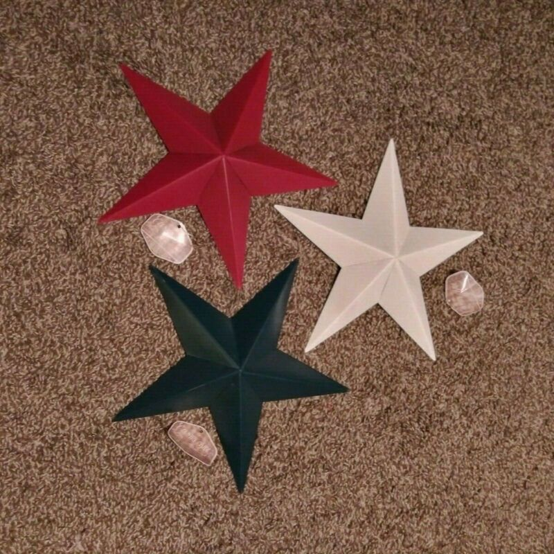 """9"""" Metal Dimensional Stars - Lot of 3 - Red, White and Blue Barn, Wall, July 4th"""