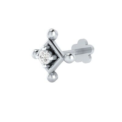 14k Solid Gold Real Diamond Piercing Pin Stud Ring Nose Lip Labret Screw Jewelry