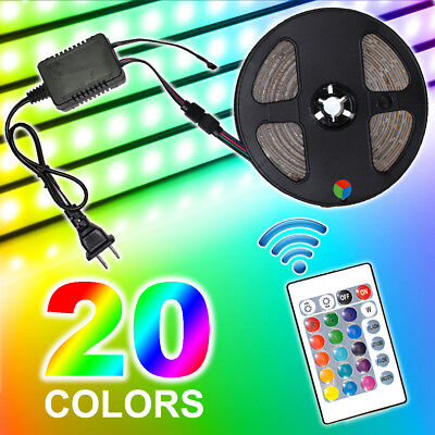 5M RGB 5050 Waterproof LED Strip light SMD 24 Key Remote 12V US Power Full Kit