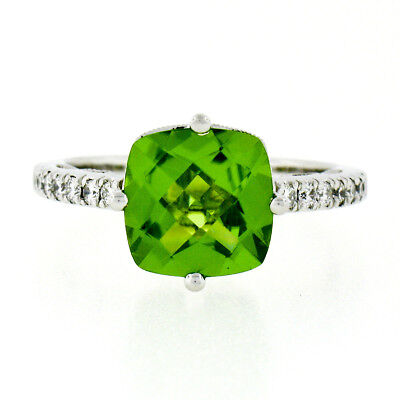 - 14K White Gold 5.10ctw Peridot & Diamond Open Gallery Milgrain Solitaire Ring