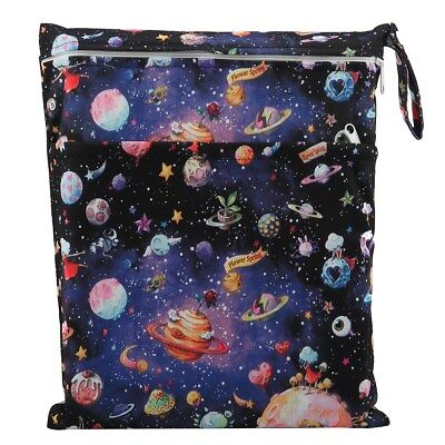 Wet Cloth - 1 Wet Dry Bag Baby Cloth Diaper Nappy Bag Reusable Two Zipper Solar System