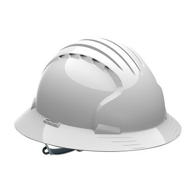 Jsp Full Brim Hard Hat With 6 Point Slip Ratchet Suspension White