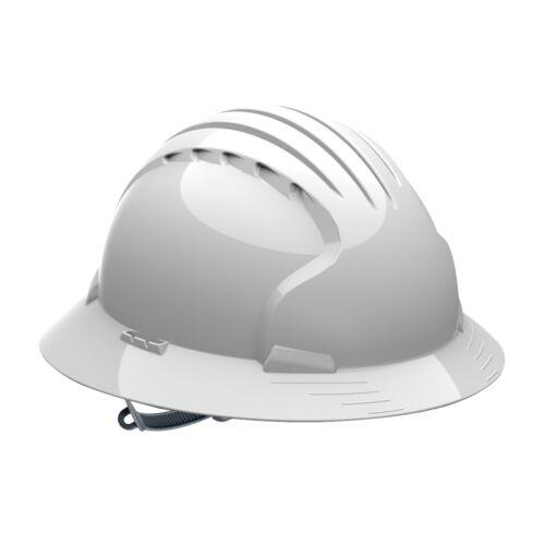 JSP Full Brim Hard Hat with 6 Point Slip Ratchet Suspension, White