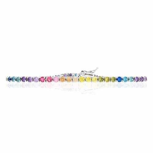 "925 Sterling Silver 3mm Multicolor Rainbow CZ Tennis Bracelet 7.25"" 1"