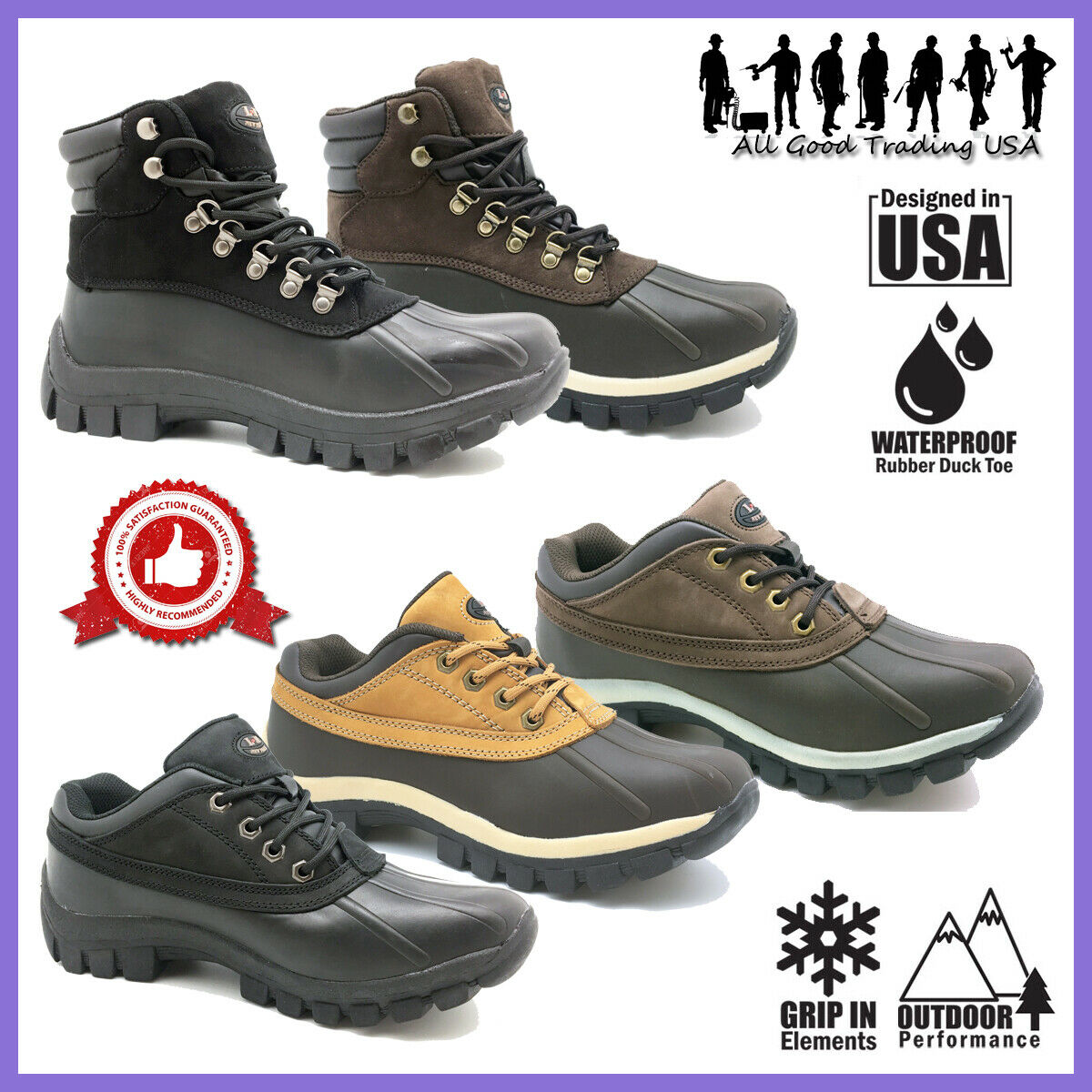 LM Winter Snow Boots Men's Insulated Work Boots Waterproof R