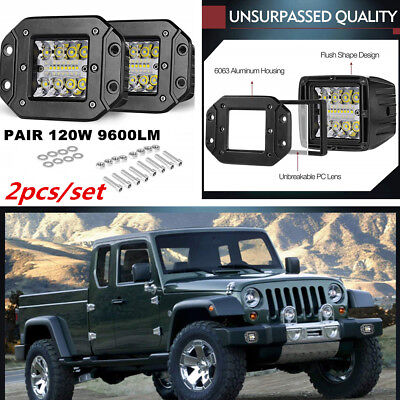 2Pcs 240W Flush Mount Work Light Pods 5inch CREE LED SUV Bumper Reverse Lamps for sale  Shipping to Canada