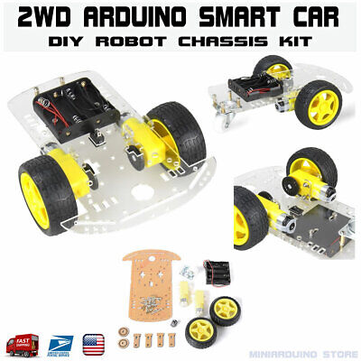2wd Smart Car Chassis Robot Kit With Speed Encoder Tracing Arduino Mcu Usa