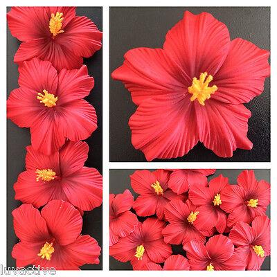 Hawaiian Foam Hibiscus Flower Hair CLIP Aloha Red