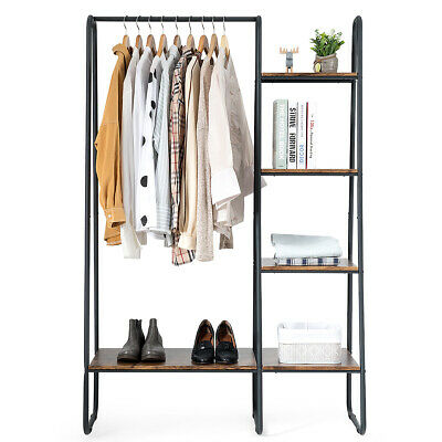 Industrial Look Clothes Garment Rack Storage Tower Freestand w/Metal Frame Freestanding Garment Rack