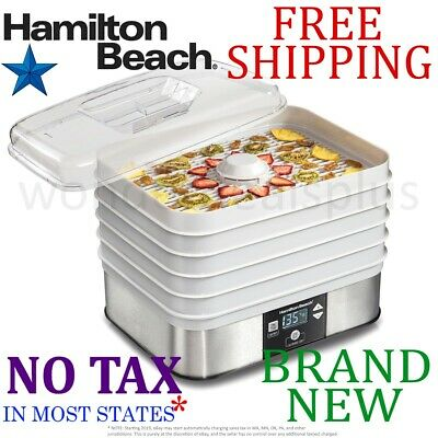 *New* HAMILTON BEACH 5-Tray FOOD DEHYDRATOR Clear Lid Temper