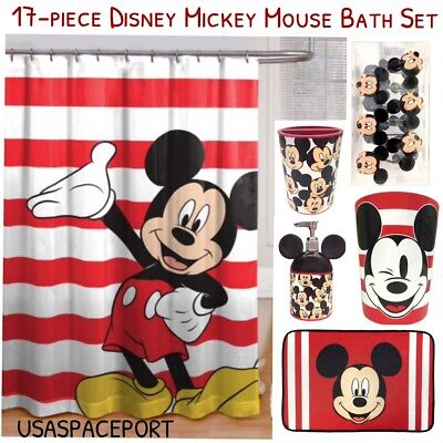 17pc MICKEY MOUSE BATH SET Shower Curtain+Hooks+Mat+Soap Pum