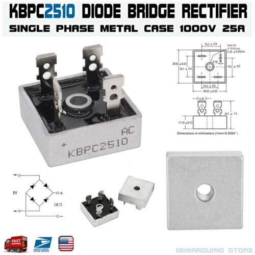 KBPC2510 Diode Bridge Rectifier Single Phase Metal Case 1000V 25A USA
