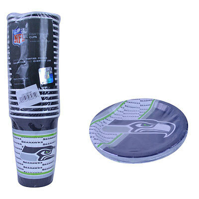 New NFL Seattle Seahawks 40pc Disposable Paper Plates Cups Party-Ware Supplies