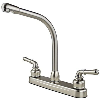RV / Mobile Home High Rise Kitchen Sink Faucet Travel Trailer, Stainless Finish