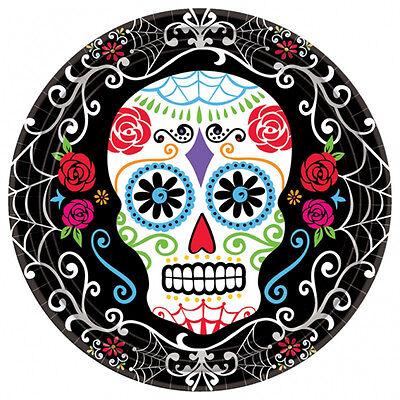18 X Halloween Tag der Toten Groß Bankett Größe Platten Sugar Skull (Halloween Papier Platten)