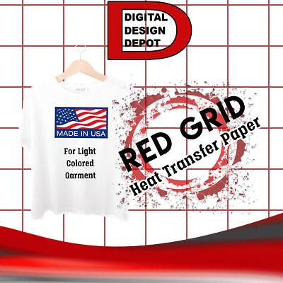 Heat Transfer Paper Iron On Light T Shirt Inkjet Red Grid 50 Sheets 8.5x11 1
